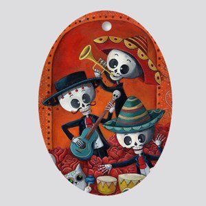 Mexican skeleton musicians Ornament (Oval)