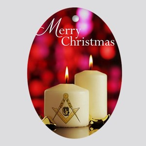Masonic Christmas Card Oval Ornament