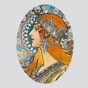 GC Mucha La Plume Oval Ornament