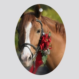 Christmas Horse Oval Ornament