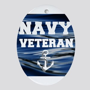 Navy Veteran Oval Ornament
