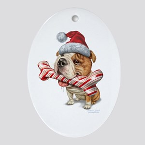 Bulldog Christmas Ornament (Oval)