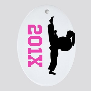 Pink Karate Oval Ornament