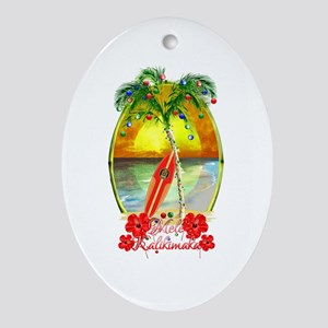 Mele Kalikimaka Surfboard Ornament (Oval)