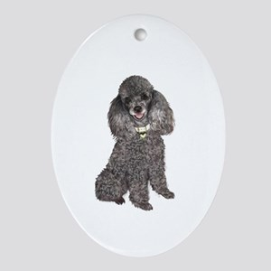Poodle (Min-Slvr) Ornament (Oval)