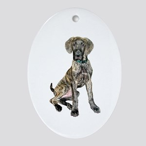 Brindle Great Dane Pup Ornament (Oval)