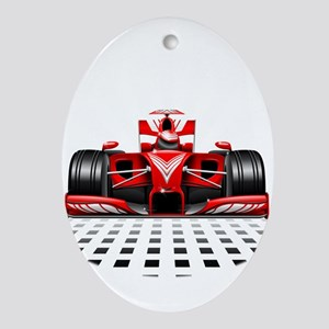 Formula 1 Red Race Car Ornament (Oval)
