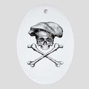Chef Skull and Crossbones Ornament (Oval)