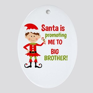 Santa Big Brother Baby Announcement Ornament (Oval