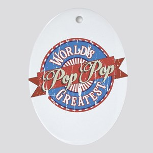 World's Greatest PopPop Ornament (Oval)