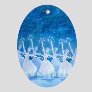 Dance of the Snowflakes Ballet Oval Ornament