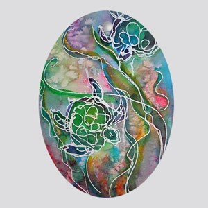 Turtles! Sea turtles! Wildlife art! Ornament (Oval