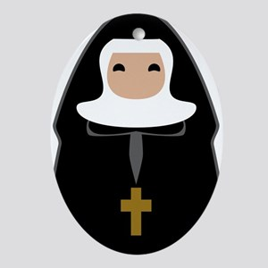 Cute Nun Ornament (Oval)