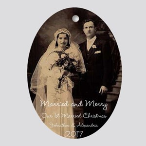 Married And Merry Christmas Holiday Oval Ornament