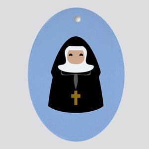 Cute Nun CUSTOM TEXT Ornament (Oval)