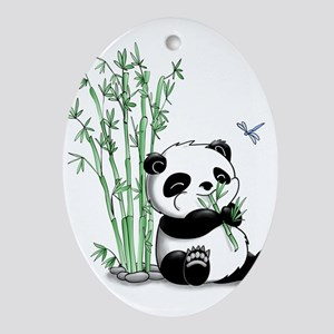 Panda Eating Bamboo Ornament (Oval)