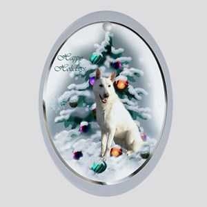 White German Shepherd Christmas Oval Ornament