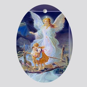 Guardian Angel with Children Crossin Oval Ornament