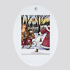 Sleigh Vintage Oval Ornament