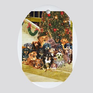A Dachshund Family Christmas Oval Ornament