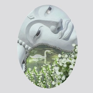 In the Garden - Quan Yin Flowers Oval Ornament