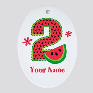 Watermelon 2nd Birthday Ornament (Oval)