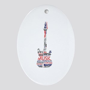 guitar word fill red blue black Ornament (Oval)