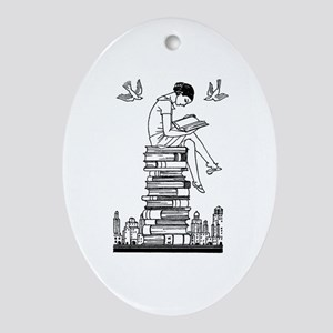 Reading Girl atop books Ornament (Oval)