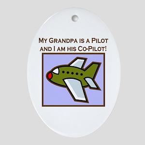 Grandpa's Co-Pilot Airplane Oval Ornament