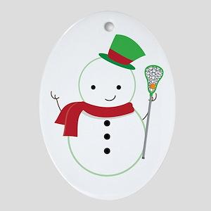 Lacrosse Christmas Snowman Ornament (Oval)