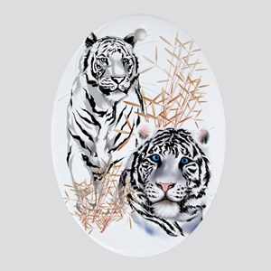 White Tigers Trans Oval Ornament