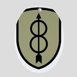 Army-8th-Infantry-Div-Dark-5 Oval Ornament