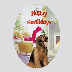 2-airedale card Oval Ornament