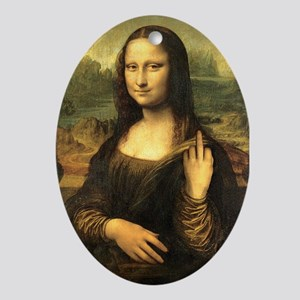 Mona Lisa Flip Off Ornament (Oval)