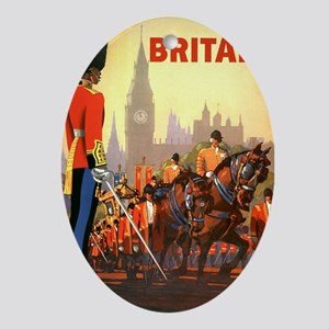 Vintage Travel Poster, Britain Oval Ornament