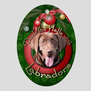 DeckHalls_Labradors_Chocolate Oval Ornament