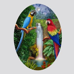 MaCaw Tropical Parrots Oval Ornament