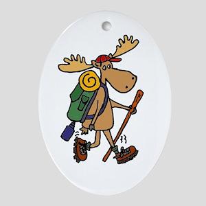 Moose Hiking Oval Ornament