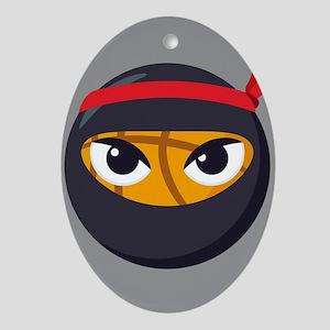 Basketball Ninja Emoji Oval Ornament