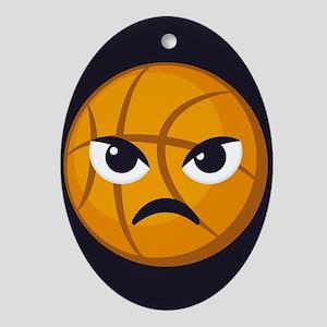 Basketball Frown Emoji Oval Ornament