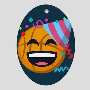 Basketball Party Emoji Oval Ornament