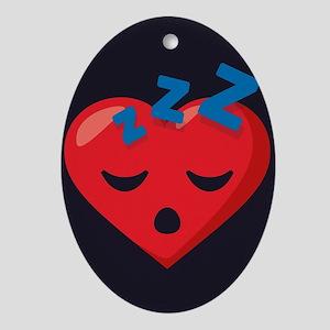 Heart Sleeping Emoji Oval Ornament