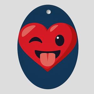 Heart Joking Emoji Oval Ornament