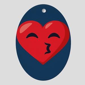 Heart Kissy Face Emoji Oval Ornament