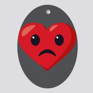 Heart Frowning Emoji Oval Ornament