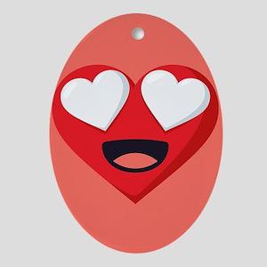 Heart Love Emoji Oval Ornament