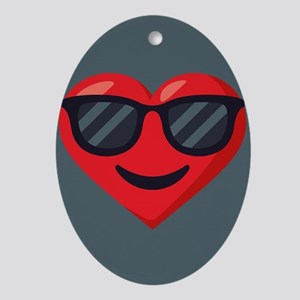 Heart Sunglasses Emoji Oval Ornament