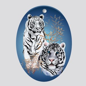 White Tigers Shirts Ornament (Oval)