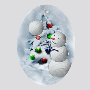 Volleyball Snowman xmas Oval Ornament