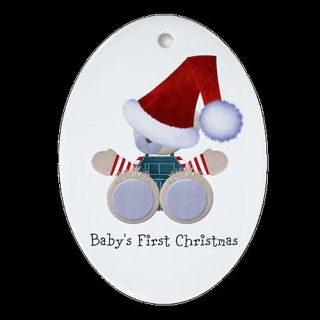 Customizable Teddy Santa Ornament (Oval)